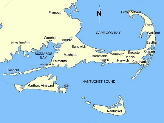 Map of Cape Cod Towns | Image courtesy Wikipedia and (WT-shared) OldPine